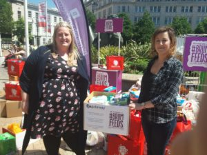 Caroline and Debbie donate to BrumFeeds Big Drop