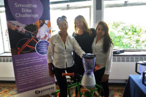 Margaret, Jemma and Reshma with the Smoothie Bike